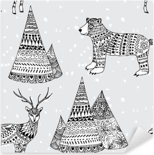 Naklejka Pixerstick Niedźwiedzie, jelenie i górskich ręcznie rysowane wzór zima