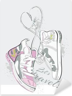Naklejka Pixerstick Para sneakers z koronki w formie serca. Ręcznie rysowane ilustracji wektorowych.