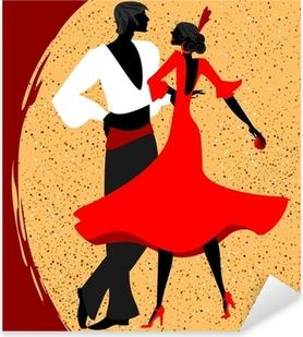Naklejka Pixerstick Para tancerzy flamenco
