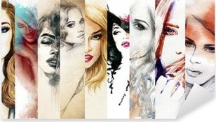 Naklejka Pixerstick Piękna twarz kobiety. Akwarele ilustracji