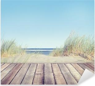 Naklejka Pixerstick Plaża i drewniane deski