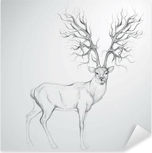 Naklejka Pixerstick Poroża jelenia z drzewa / realistyczny jak szkic
