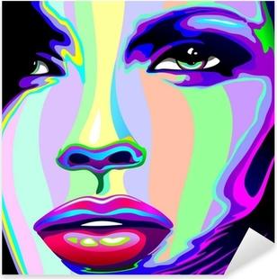 Naklejka Pixerstick Portret dziewczyny psychodeliczny tęczy Viso ragazza psychedelico