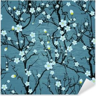 Naklejka Pixerstick Powtarzalne wzór drzewa. japoński kwiat wiśni