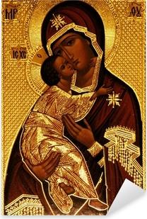 Naklejka Pixerstick Prawosławna ikona Maryi, Vladimirskaya