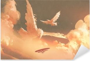 Naklejka Pixerstick Ptaki w kształcie chmury w niebo zachód słońca, ilustracja malarstwo