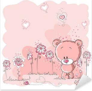 Naklejka Pixerstick Różowy ładny miś trzyma kwiat