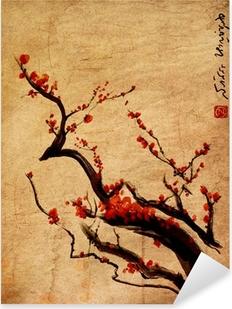 Naklejka Pixerstick Sakura, kwiat wiśni śliwki chińskie malarstwo
