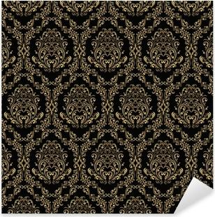Naklejka Pixerstick Seamless retro tapety w stylu wiktoriańskim: złoto na czarno.