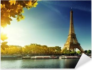 Naklejka Pixerstick Sekwany w Paryżu z wieży Eiffla w sezonie jesień