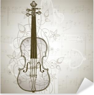 Naklejka Pixerstick Skrzypce, arkusze muzyki i rocznika kwiatowy ornament