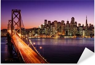Naklejka Pixerstick Skyline San Francisco i Bay Bridge o zachodzie słońca, california