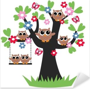 Naklejka Pixerstick Sowy zdjęcie drzewo genealogiczne