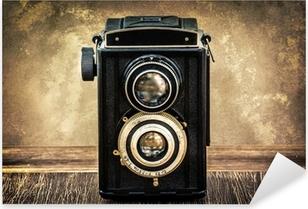 Naklejka Pixerstick Staroświecki antyczny aparat w stylu vintage
