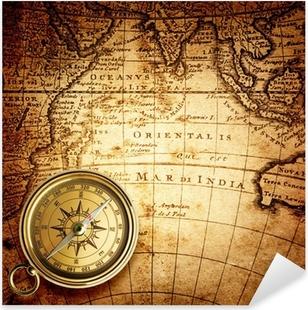 Naklejka Pixerstick Stary kompas i liny na mapie rocznika 1732