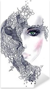 Naklejka Pixerstick Streszczenie twarz kobiety