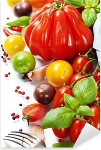Naklejka Pixerstick Świeżych pomidorów i ziół - koncepcja zdrowego