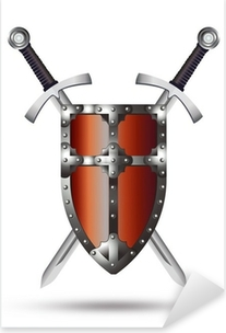 Naklejka Pixerstick Tarcza i miecz średniowieczny