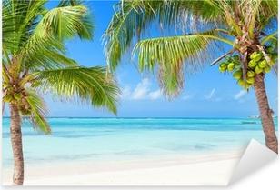 Naklejka Pixerstick Tropikalna plaża z palmami kokosowymi i przejrzystych wodach