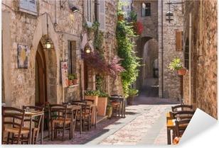 Naklejka Pixerstick Typowa włoska restauracja w zabytkowej alei
