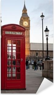 Naklejka Pixerstick Typowy czerwony budka telefoniczna w Londynie z Big Ben w bac