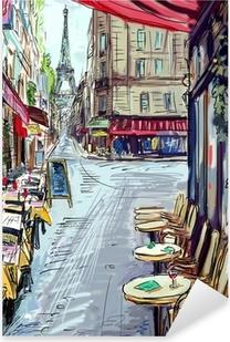 Naklejka Pixerstick Ulica w Paryżu - ilustracja