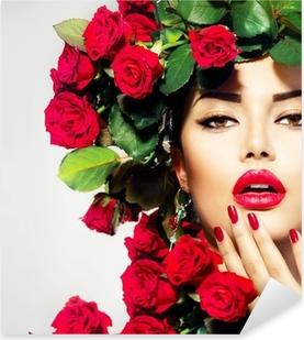 Naklejka Pixerstick Uroda moda portret model dziewczyny z czerwonych róż fryzurę
