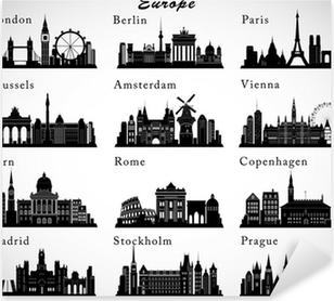 Naklejka Pixerstick Ustaw europejskich miast horyzontu. Vector sylwetką