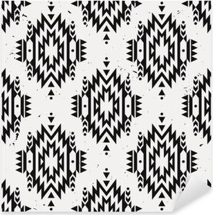 Naklejka Pixerstick Vector grunge monochromatyczny bez szwu etnicznych dekoracyjny wzór. Amerykańskie motywy Indyjskim. Tło z aztec tribal ozdoba.