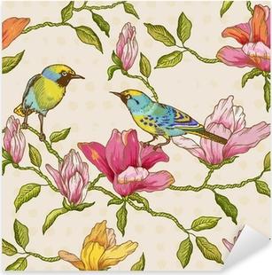 Naklejka Pixerstick Vintage szwu tła - kwiaty i ptaki