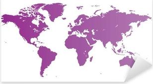 Naklejka Pixerstick Violet Mapa świata