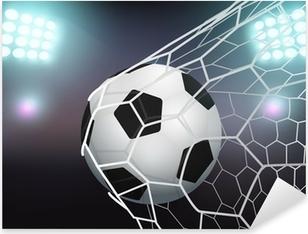 Naklejka Pixerstick Wektor piłka w siatce bramki na stadionie ze światłem