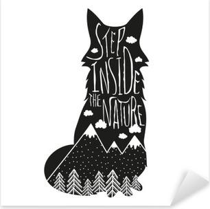 Naklejka Pixerstick Wektor wyciągnąć rękę Napis ilustracji. Krok wewnątrz natury. Typografia plakat z lisa, gór, lasów sosnowych i chmur.