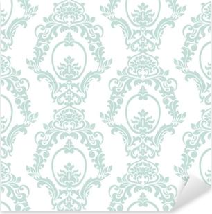 Naklejka Pixerstick Wektor wzór adamaszku ornament w stylu imperialnym. ozdobny kwiatowy element na tkaniny, tekstylia, projektowanie, zaproszenia ślubne, karty z pozdrowieniami, tapety. opalowy kolor niebieski