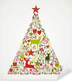 Naklejka Pixerstick Wesołych Świąt kształt drzewa pełne elementów kompozycji EPS10 fi