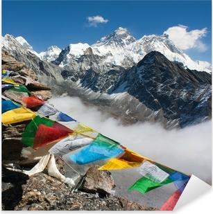 Naklejka Pixerstick Widok na Everest z Gokyo Ri - droga do obozu bazowego Everest