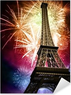 Naklejka Pixerstick Wieża Eiffla z fajerwerkami