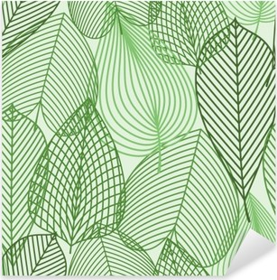 Naklejka Pixerstick Wiosną zielone liście szwu wzór