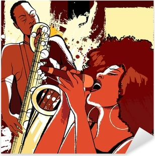Naklejka Pixerstick Wokalista jazzowy i saksofonista na tle grunge