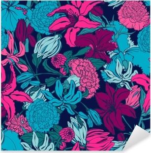 Naklejka Pixerstick Wzór z lilii, ylang, róże, kwiaty goździka. kolorowa wektorowa ilustracja. drukuj na tekstylia domowe i odzież, tkaniny, tekstylia