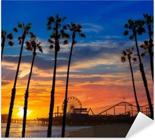 Naklejka Pixerstick Zachód słońca w Santa Monica california Promy koła na molo