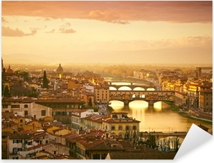 Naklejka Pixerstick Zachód słońca widok z mostu Ponte Vecchio. Florencja, Włochy