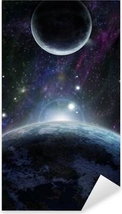Naklejka Pixerstick Zachód słońca z dwoma niebieskiej planety