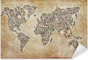 Naklejka Pixerstick Zdjęcia mapę, zabytkowe tekstury