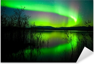 Naklejka Pixerstick Zorza polarna dublowane na jeziorze