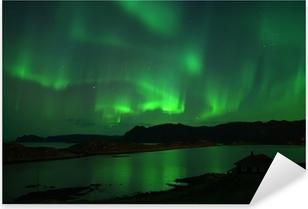 Naklejka Pixerstick Zorza polarna nad Northcape. 08 października 2013