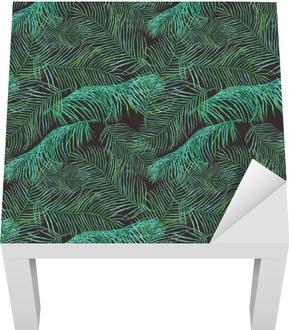Akvarel palmového listí saemless vzor na tmavém pozadí.