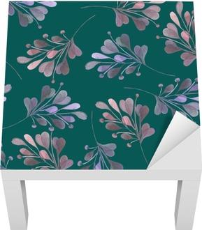 Bezešvé vzor s akvarelem růžové a fialové listí a větve na tmavém zeleném pozadí, svatební dekorace, ručně kresleny v pastelové