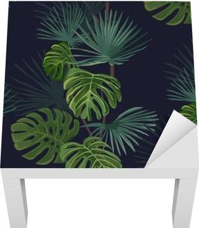 Bezešvé vzor tropických listů. Ručně malovaná pozadí.