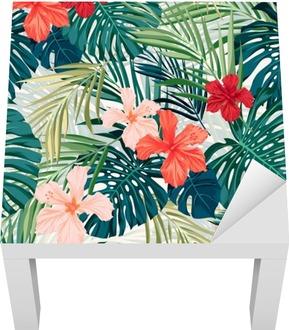 Zářivě barevné tropické bezproblémové pozadí s listy a